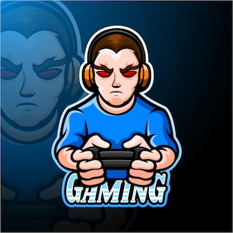 Conception de mascotte de logo gamer boy esport