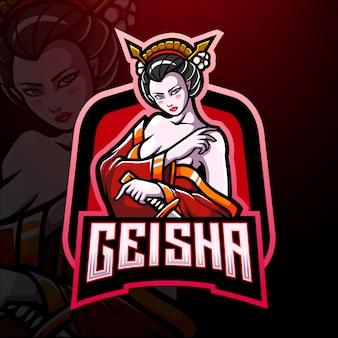 Conception de mascotte de logo geisha esport