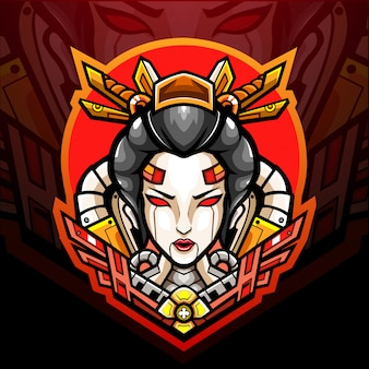 Conception de mascotte logo geisha mecha esport