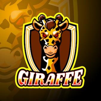Conception de mascotte logo girafe esport