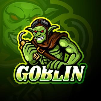 Conception de mascotte de logo de gobelin esport