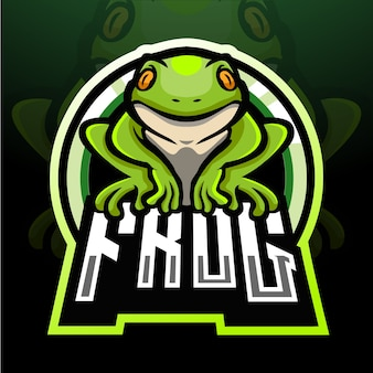 Conception de mascotte logo grenouille esport