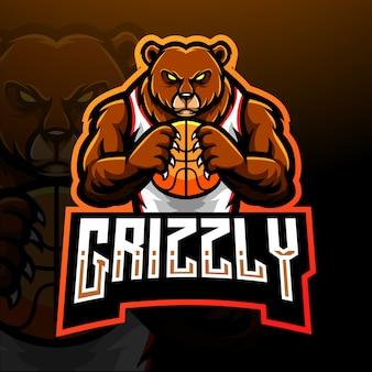 Conception de mascotte logo grizzly bear esport