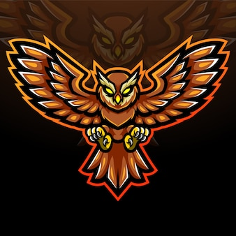 Conception de mascotte logo hibou esport
