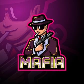 Conception de mascotte logo mafia esport