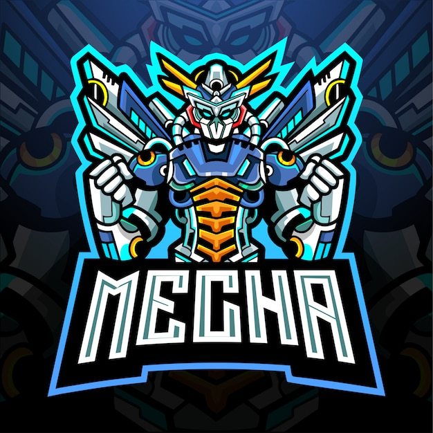 Conception de mascotte de logo mecha esport