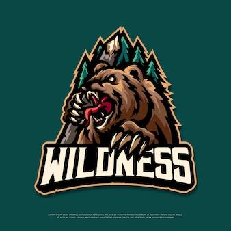 Conception de mascotte de logo d'ours