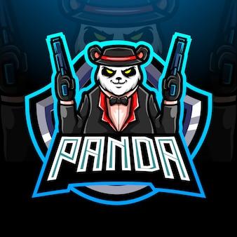 Conception de mascotte logo panda mafia esport