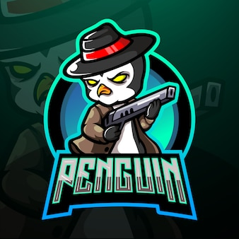Conception de mascotte logo pingouin mafia esport
