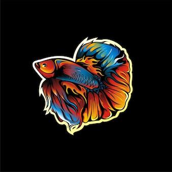 Conception de mascotte de logo de poisson betta