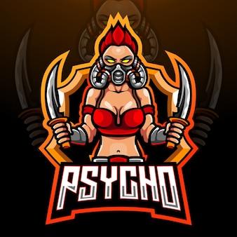 Conception de mascotte de logo psycho esport