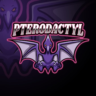 Conception de mascotte logo ptérodactyle esport