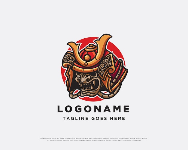 Conception de mascotte de logo de samouraï