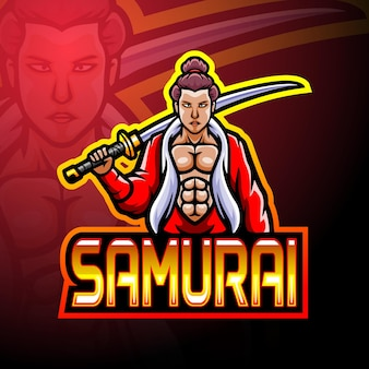 Conception de mascotte de logo de sport samouraï e