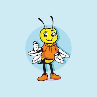 Conception de mascotte mignonne petite abeille pouce vers le haut