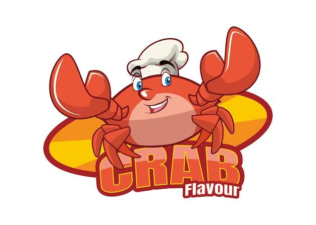 Conception de mascotte de personnage de dessin animé de saveur de crabe rouge