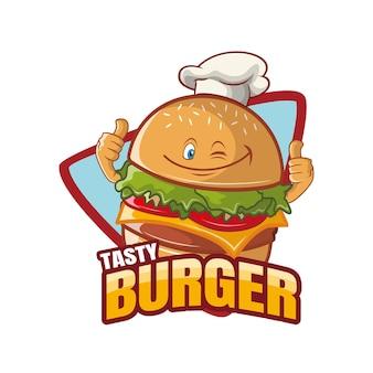 Conception de mascotte de personnage de dessin animé savoureux burger