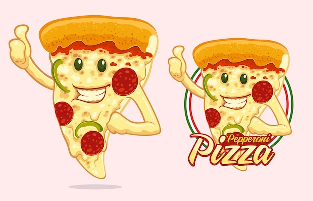 Conception de mascotte de pizza pour vendeur de pizza