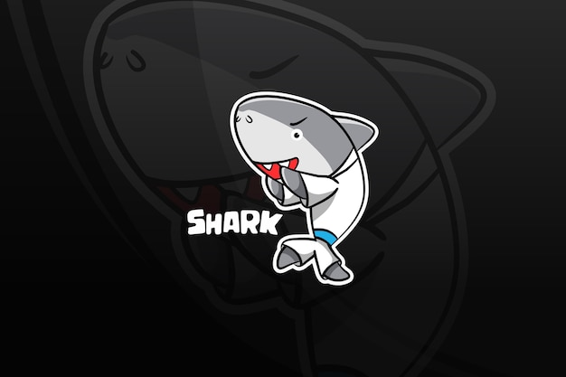 Conception de mascotte de requin esport. auto défense