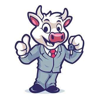 Conception de mascotte de vache business