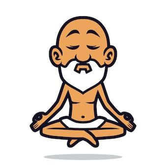 Conception de mascotte de yoga de gourou