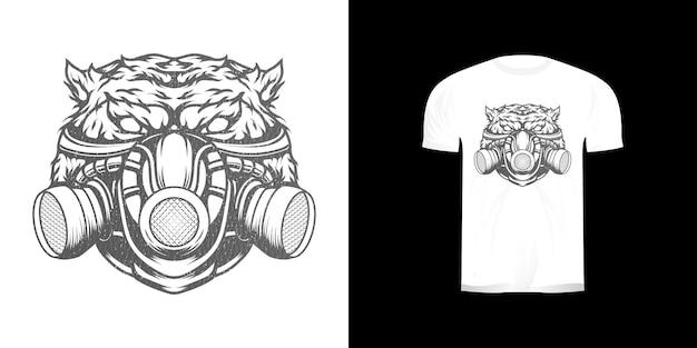 Conception de masque à gaz tigre pour tshirt