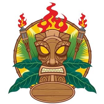 Conception de masque tiki pour illustration plate de concept tropical