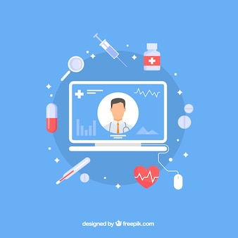 Conception de médecin en ligne bleu avec elementos