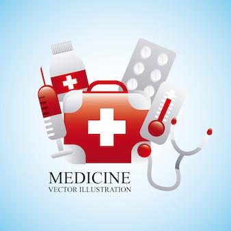 Conception de la médecine au cours de l'illustration vectorielle fond bleu