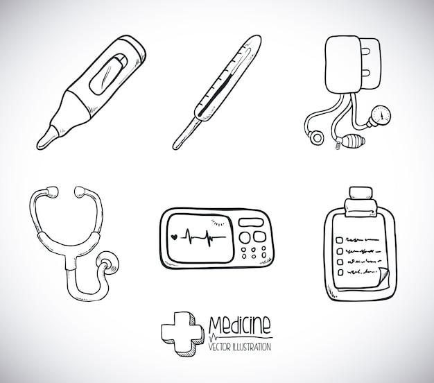 Conception de la médecine au cours de l'illustration vectorielle fond gris