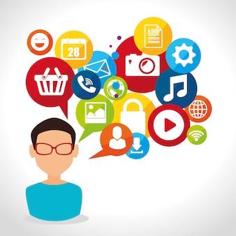 Conception de médias sociaux avec des icônes multimédias