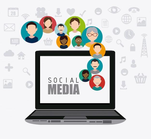 Conception de médias sociaux.