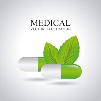 Conception médicale sur illustration vectorielle fond gris