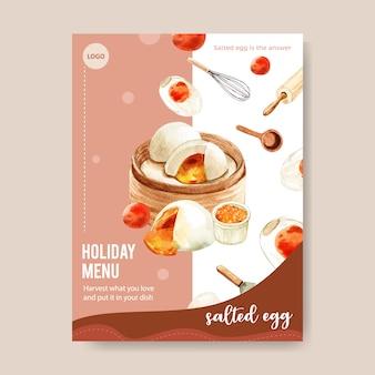 Conception de menu d'oeufs salés avec chignon cuit à la vapeur, illustration aquarelle de rouleau à pâtisserie.