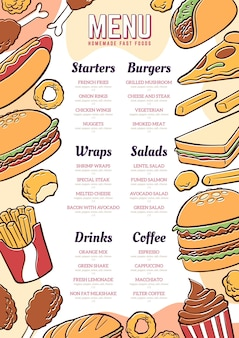 Conception de menu de restaurant numérique dessiné à la main