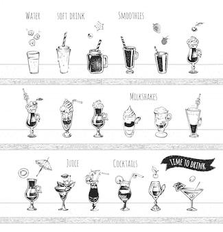 Conception de menus de bar. icônes de cocktails d'alcool, de boissons gazeuses, d'eau et de smoothie. croquis dessiné main vintage de boissons alcoolisées. style de griffonnage