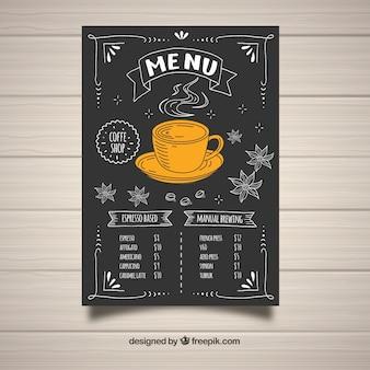 Conception de menus de café dessinés à la main