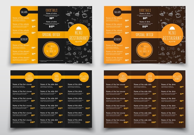 Conception de menus pliants triples pour cafés et restaurants. les modèles de brochures sont en noir et marron avec des éléments orange, des dessins à la main, une liste de plats et de boissons et leurs prix. vecteur