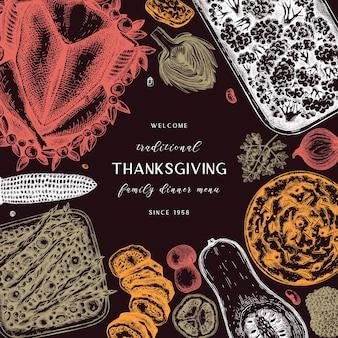 Conception de menus pour le jour de thanksgiving en couleur dinde rôtie légumes roulés viande gâteaux gâteaux tartes