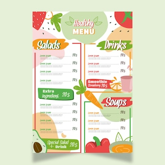 Conception de menus de restaurant d'aliments sains