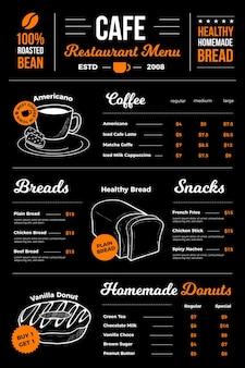 Conception de menus de restaurant de café numérique