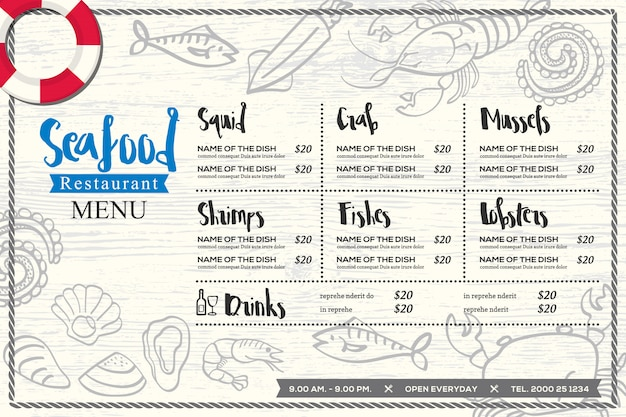 Conception de menus de restaurant de fruits de mer restaurant