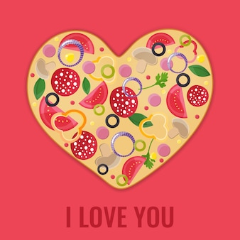 Conception de menus de saint valentin. coeur de pizza.