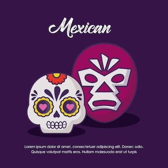 Conception mexicaine avec masque de lutte et crâne de sucre