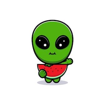 Conception de mignon alien mangeant la pastèque