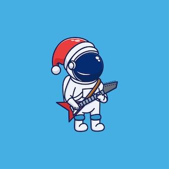 Conception mignonne d'astronaute célébrant noël et jouant de la guitare électrique
