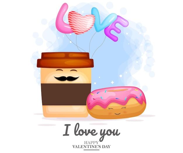 Conception mignonne de café et de beignet pour la saint valentin