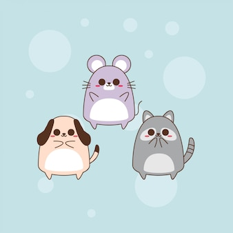 Conception mignonne de caractère animal de kawaii
