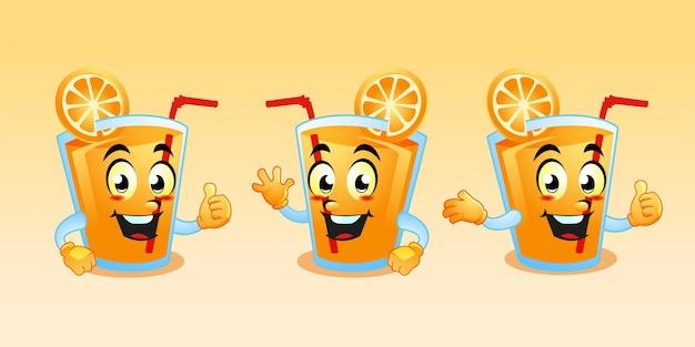 Conception mignonne de dessin animé de mascotte de jus d'orange
