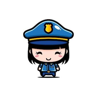 Conception mignonne de fille de police